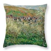 Flowering Plum Trees Throw Pillow