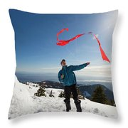 Flying A Kite On A Snowy Mountain Throw Pillow