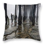 Fog At The Pier Throw Pillow