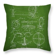 Folding School Globe Patent Drawing From 1887 Throw Pillow by Aged Pixel