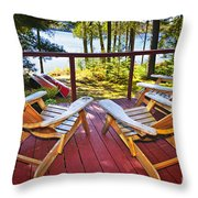 Forest Cottage Deck And Chairs Throw Pillow by Elena Elisseeva