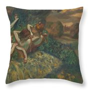 Four Dancers Throw Pillow by Edgar Degas