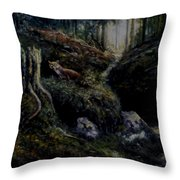 Fox In The Wood Throw Pillow