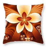 Fractal Fantasy Flowers Throw Pillow