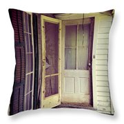 Front Door Of Abandoned House Throw Pillow