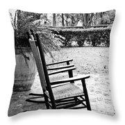 Front Porch Rockers - Bw Throw Pillow