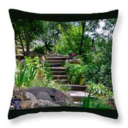 Garden Steps Throw Pillow