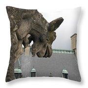 Gargoyles On Roof Of Biltmore Estate Throw Pillow