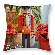 German Nutcracker - Frohe Weihnachten Throw Pillow