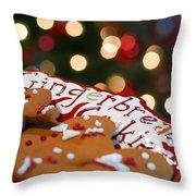 Gingerbread Cookies On Platter Throw Pillow
