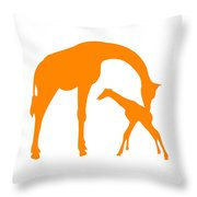 Giraffe In Orange And White Throw Pillow