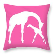 Giraffe In Pink And White Throw Pillow