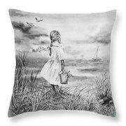 Girl And The Ocean Throw Pillow