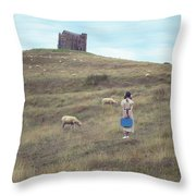 Girl With Sheeps Throw Pillow