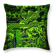 Glowing Green Circuit Board Throw Pillow by Amy Cicconi