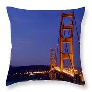 Golden Gate Bridge At Night Throw Pillow