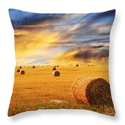 Golden Sunset Over Farm Field With Hay Bales Throw Pillow
