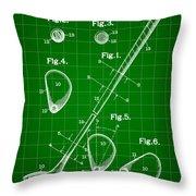 Golf Club Patent 1909 - Green Throw Pillow
