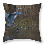 Great Blue Water Landing Throw Pillow