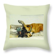 Great Dane And Australian Sheperd Throw Pillow