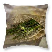 Green Asparagus On Burlab Throw Pillow