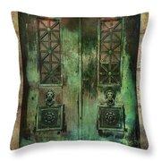 Green Doors Throw Pillow