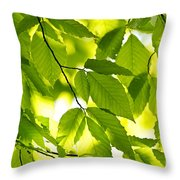 Green Spring Leaves Throw Pillow