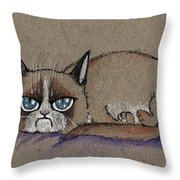 Grumpy Cat Having Some Rest Throw Pillow