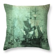 Grungy Historic Seaport Schooner Throw Pillow