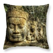 Guardians Of Angkor Thom Throw Pillow
