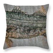 Gyotaku - Striped Bass - Rock Fish - Striper Throw Pillow