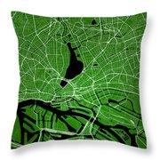 Hamburg Street Map - Hamburg Germany Road Map Art On Colored Bac Throw Pillow