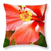 Happy Hibiscus Throw Pillow