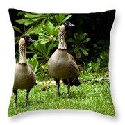 2 Hawaiian Nene Geese Throw Pillow