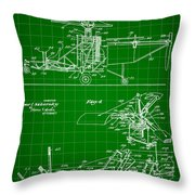 Helicopter Patent 1940 - Green Throw Pillow