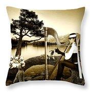 High Fashion Harp Throw Pillow