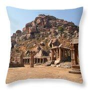 Hindu Ruins At Hampi Throw Pillow