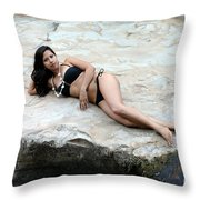 Hispanic Woman Waterfall Throw Pillow