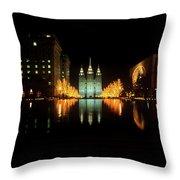 Historic Temple And Square In Salt Lake Throw Pillow