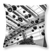 Holiday Glass Ornament Decorations At The Aria Resort And Casino Throw Pillow