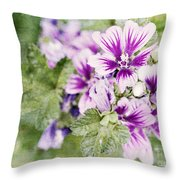 Hollyhocks Throw Pillow