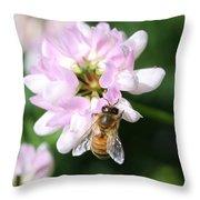 Honeybee On Crown Vetch Throw Pillow