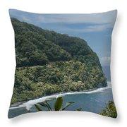 Honomanu - Highway To Heaven - Road To Hana Maui Hawaii Throw Pillow