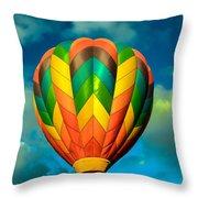 Hot Air Balloon Throw Pillow by Robert Bales