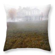House In Fog Throw Pillow