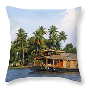 Houseboats On The Kerala Backwaters Throw Pillow