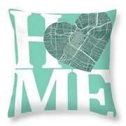 Houston Street Map Home Heart - Houston Texas Road Map In A Hear Throw Pillow