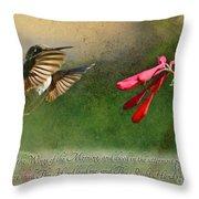 Hummingbird Morning With Verse Throw Pillow