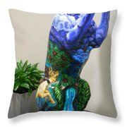 Hunt For The Unicorn On A Full Moon Throw Pillow