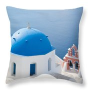 Iconic Blue Domed Churches In Oia Santorini Greece Throw Pillow